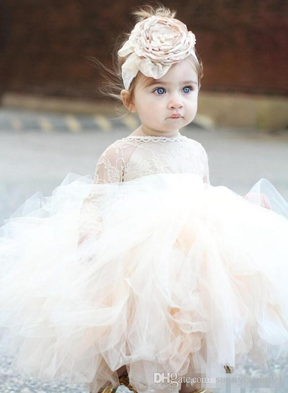 Baby Infant Toddler Pageant Clothes Pricness Flower Girl Dresses Long Sleeve Lace Tutu Dress Ivory Kids Child Communion Bridal Party Dresses