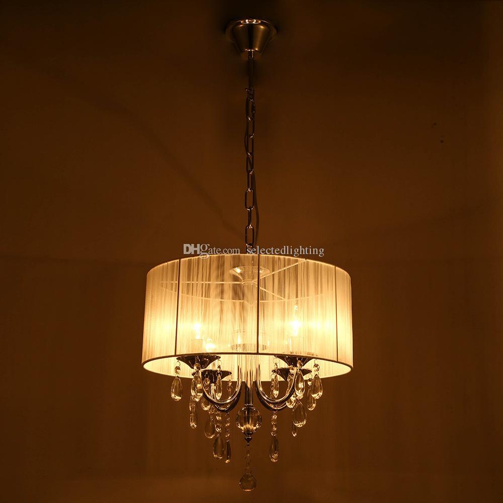 Witte drum schaduw kristal plafond kroonluchter hanglamp armatuur verlichting lamp 6 lichten D.40 x H. 60cm