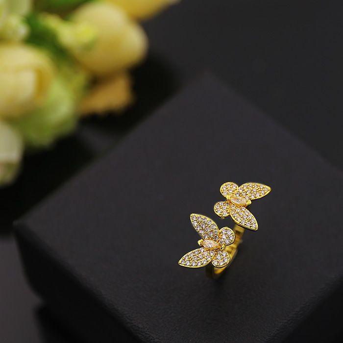 Anelli di rame della farfalla della pietra completa CZ le donne I monili di modo di stile del Medio-Oriente Platino placcato oro giallo Accessori di alta qualità