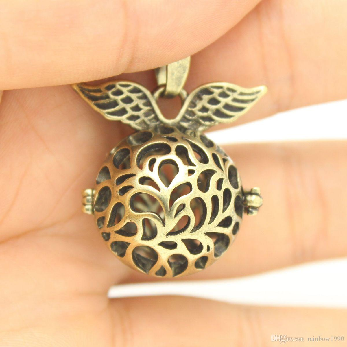 "Aromatherapy Essential Oil Diffuser Jewelry Antique Bronze Wing Flower Hollow Magic Box Locket Pendant Necklace With 30"" Chain"