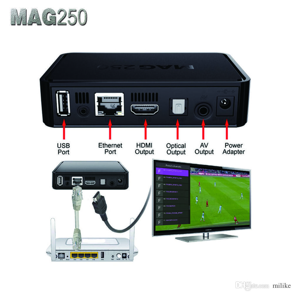mag 250 Linux box with with 3400+ SUBTV iptv channels Poland Bulgaria Demark Romania Canada USA Germany Spain Portugal Holland mag250 iptv