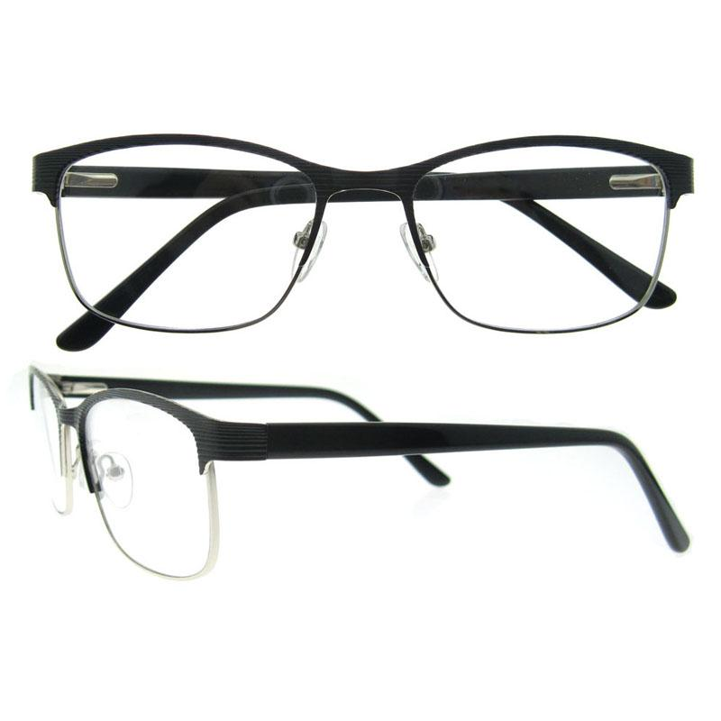 Ultra Fine Light Weight Rectangle Metal Eyeglasses Frame Acetate ...