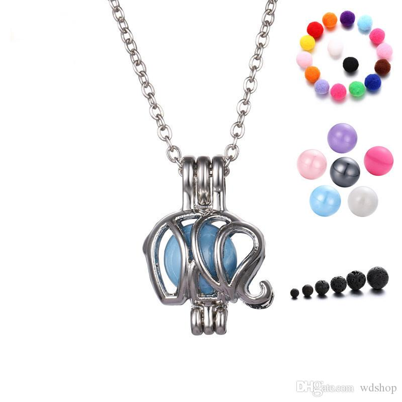 Silver Tone Elephant Pendant Diffuser Necklaces Mini Lockets Essential Oil Aromatherapy Necklaces Jewelry Gift For Women