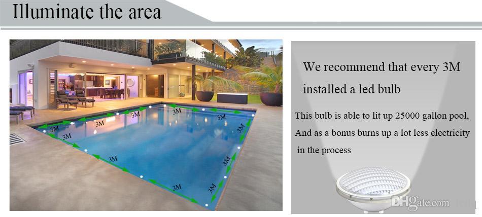 La lampe de lumières de piscine de RVB Par56 LED 12V 18W 24W 35W 12 volts IP68 imperméabilisent les lumières sous-marines pour le CE artificiel de cascade de bassin de paysage de fontaine