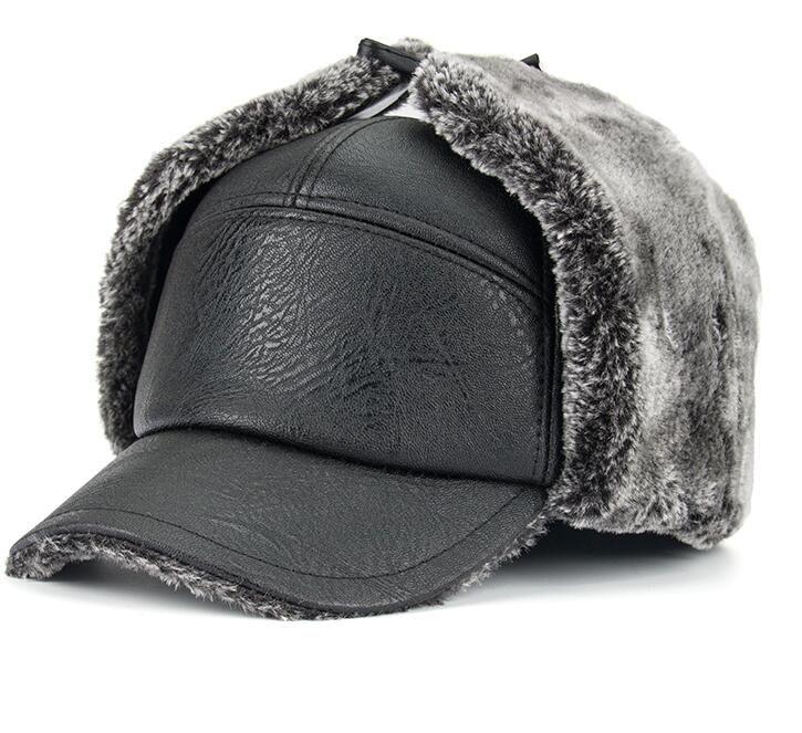 2019 Brand New Arrinal Winter Fashion Leisure Man PU Bomber Hat Flat Cap  With Fur Lining Earmuff Winter Warm Leather Hats Man Artificial Wool From  ... 4c5cba1dfa3