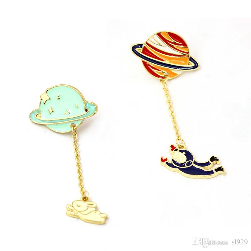 Japan And South Korea Popular Small Fresh Cute Girl Style Color Planet Astronaut Rocket Brooch Moon Rabbit Badge Cute Cartoon Brooch