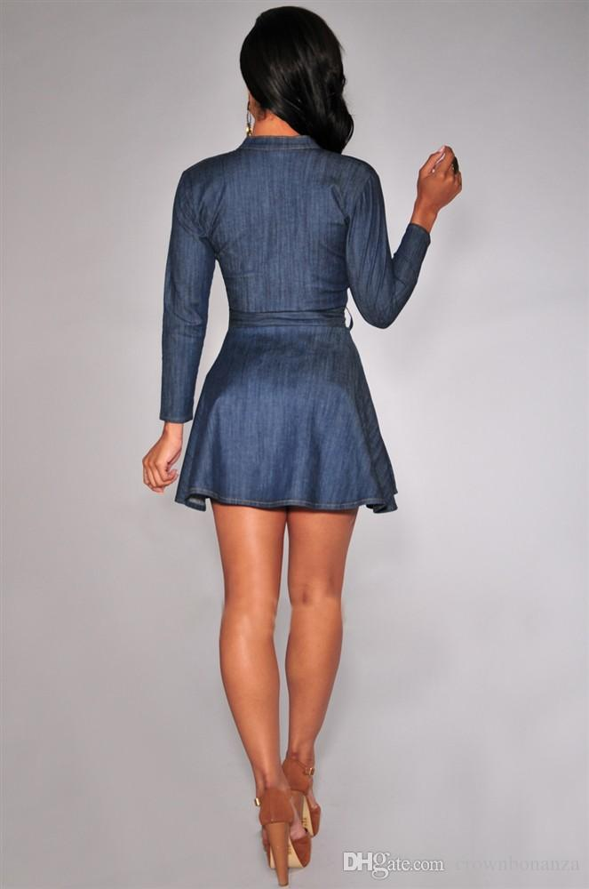 Mode Denim Dress Eté À Manches Longues Moulante Taille Slim Jeans Dress Plus La Taille Col En V Parti Sexy Bureau Une Ligne Mini Robe
