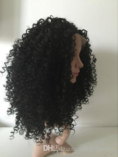 24inch belle longue noir bouclé Midle partie femmes avant de cheveux dentelle synthétique perruques
