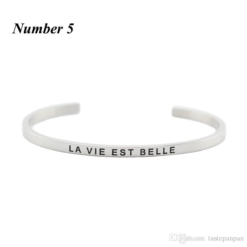 Hot 316L Aço Inoxidável Gravado Inspirado Positivo Cuff bracelet Mantra Pulseira Pulseira para as mulheres