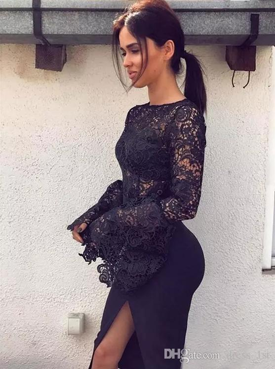 Little Black Lace Knee Length Cocktail Party Dresses 2017 Bateau Poet Long Sleeve Satin Side Split Prom Gowns Custom Made China EN101411