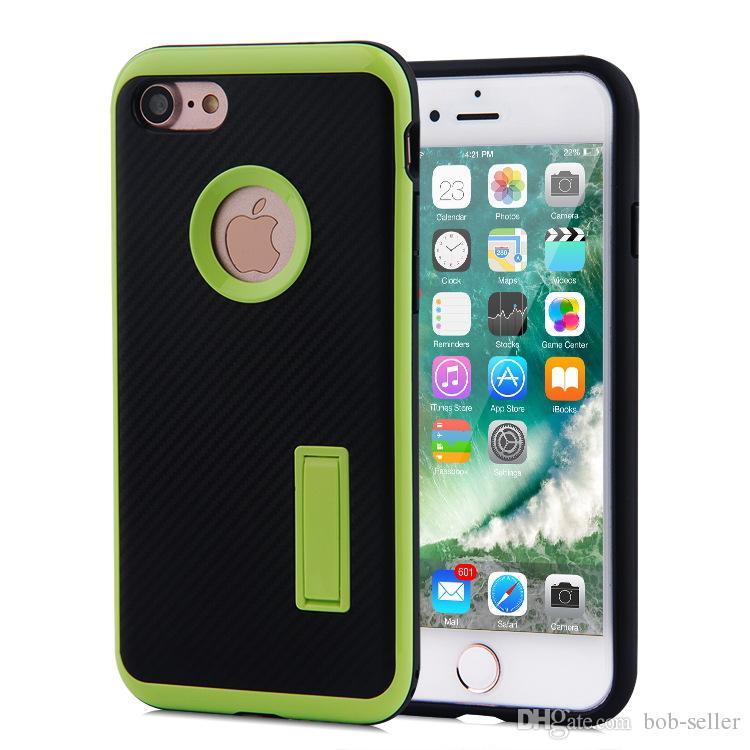 Für Apple iPhone 7 7 Plus Fall 2 in 1 mit Kickstand Motomo stent kohlefaser TPU PC Stoßfest handy Abdeckungen
