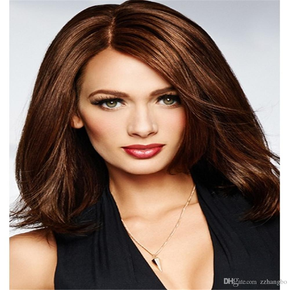 Full Lace Wigs celebrity wig kabell Full Lace Human Hair Wig Senior silk Long Wavy Brazilian Virgin Hair 100% With Bangs For women Color 33#