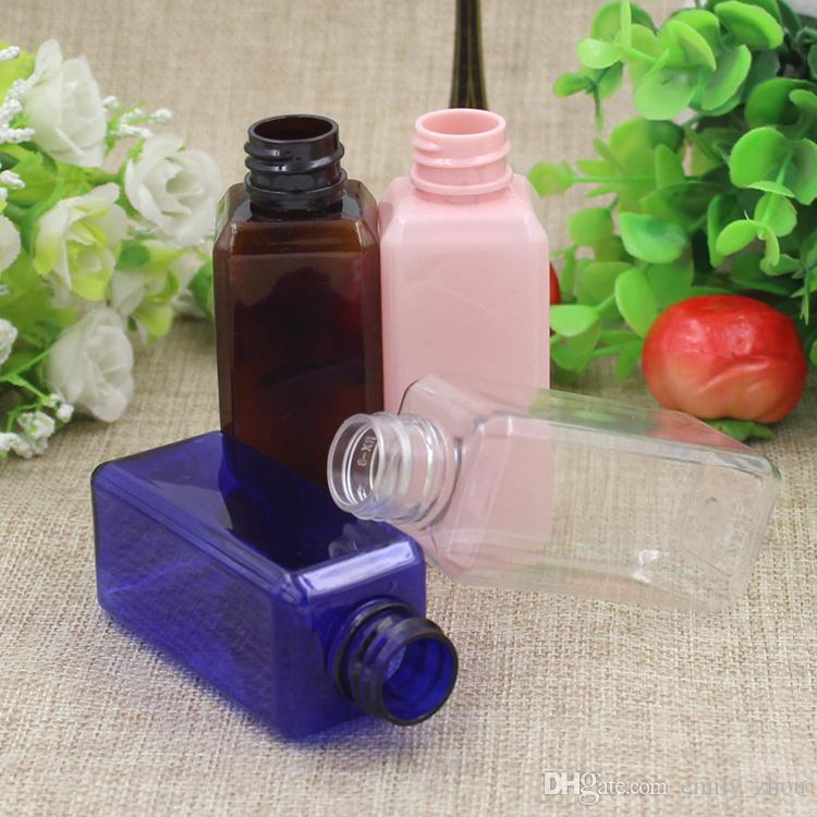 50ml clear blue brown empty plastic cleansing oil bottles with pump,essential oil body cream bottle containers for cosmetic packaging
