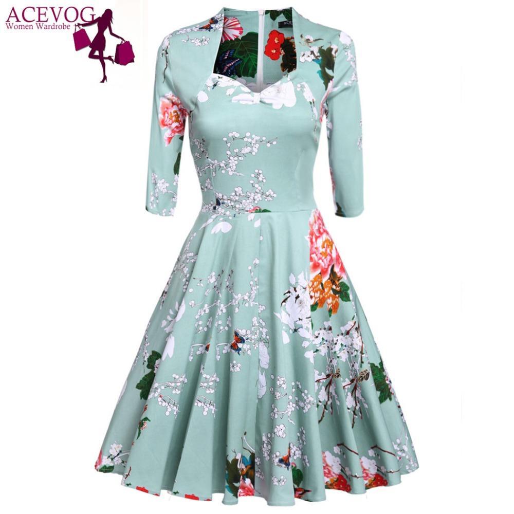 6878384398 Cheap Vintage Dresses for Wedding Guests Best Cherry Print Vintage Dresses