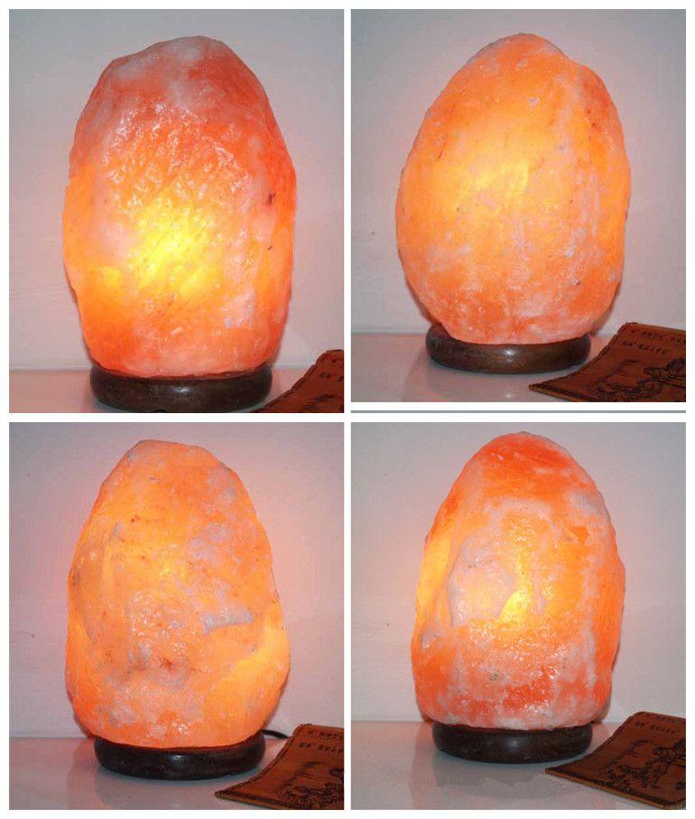 Himalayan cristal sal lámpara de mesa de la lámpara Ionic purificador de aire plug-in sal luz de la noche lámparas con base de madera, bombilla, cable de alimentación, regulador de intensidad