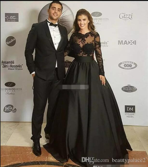 See Through 2017 Cheap Sexy Black Lace Evening Dresses With Long Sleeves Appliques Red Carpet Celebrity Dress Formal Prom Party Gowns