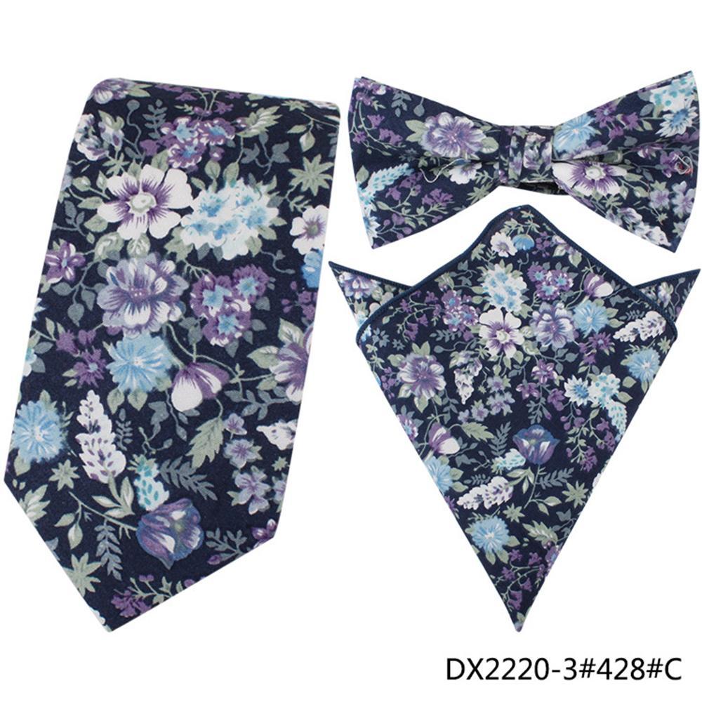 / Set Men Cotton Necktie Jacquard Floral Fashion Skinny Tie Crossover Ties Pocket Square Wedding Party Print Handkerchief Bowties Tie