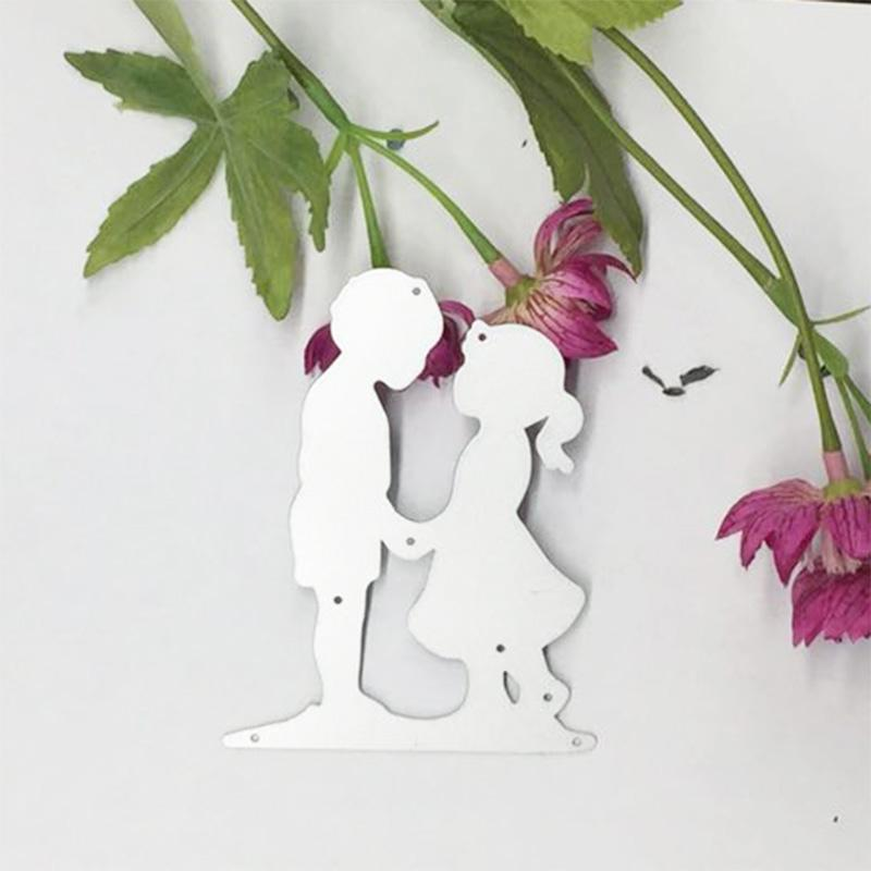 Lovely Boy & Girl Face to Face Cutting Dies Stencil For DIY Scrapbooking Card Paper Craft Photo Album Painting Embossing Decor Craft
