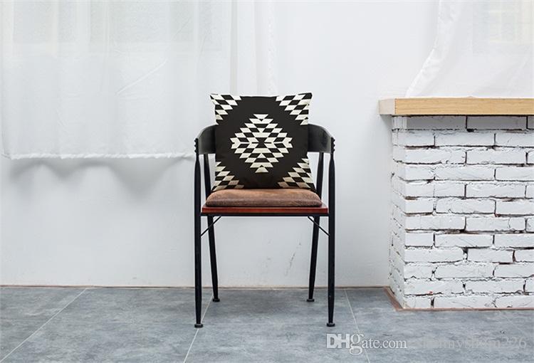 أبيض وأسود شعرية الكتان غطاء وسادة مكتب المنزل أريكة مربع وسادة القضية وسادة الزخرفية يغطي سادات دون إدراج 18 * 18