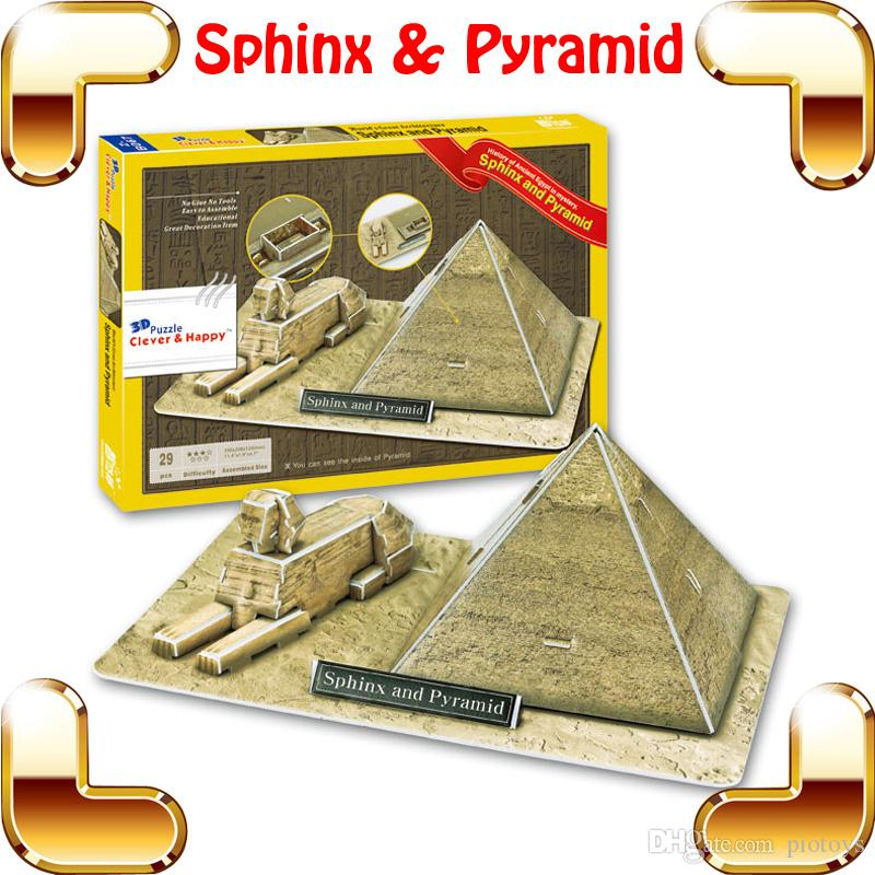 New DIY Gift Sphinx & Pyramid 3D Puzzle Pyramids Of Egypt Model Children  Education Toys Fun Puzzle Game House Decoration Present