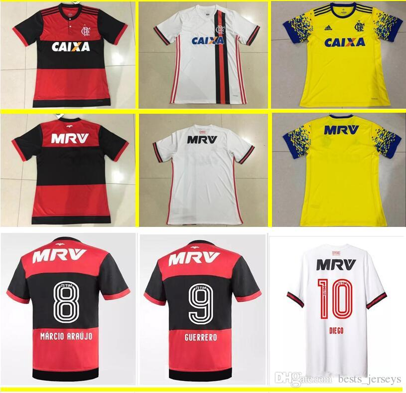 2019 Thai Quality 17 18 Flamengo Home Red Away White Soccer Jersey Flamengo  Third Yellow Soccer Shirt MARCIO ARAUJO DIEGO GUERRERO Football Shirt From  ... c2c55e702