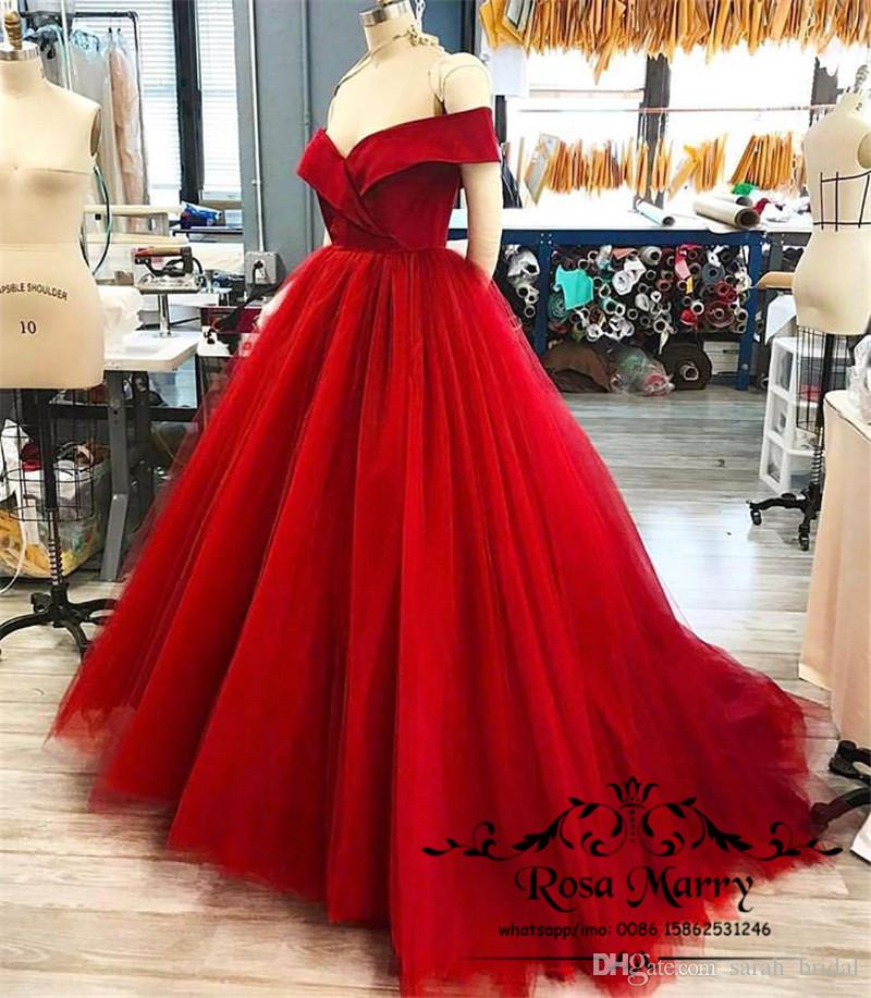 41ef9286c5c89 Sexy Red Off Shoulder Cheap Prom Dresses 2018 New Long Formal Dress Evening  Wear Puffy Tulle Ball Gown Maternity Women Cocktail Party Gowns Prom Gowns  2015 ...