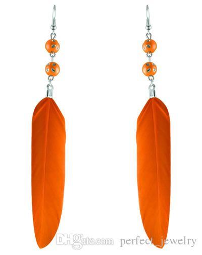 깃털 귀걸이 12 색 도매 많이 귀여운 구슬 매력 간단한 빛 매달아 귀고리 뉴 화이트 블랙 핑크 오렌지 옐로우 그린 블루 JF142