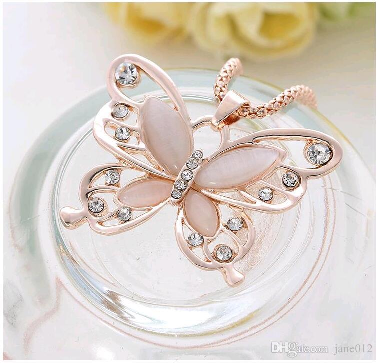 New Korean Opal CZ Diamonds Butterfly Necklace Fashion Jewelry for Women Long Pendant Necklace Clothing Ornament 10pcs