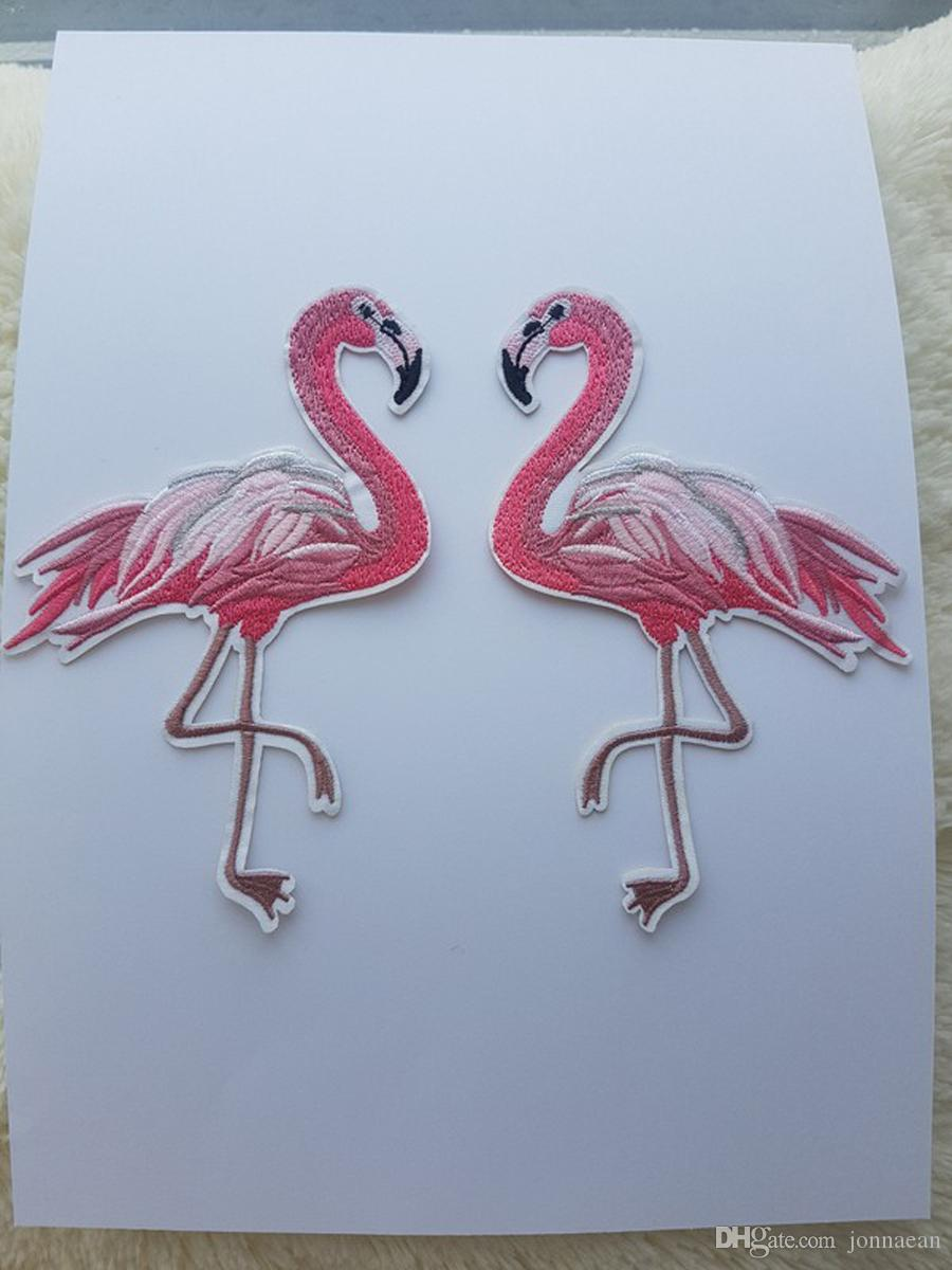 10x15cm Iron On Embroidered Flamingo Patch Pink Birds Applique Embroidery Patches For Clothing Jacket Jean Dressing shoe