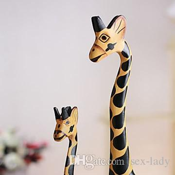 Vintage Nordic Log Craft Gift Giraffe Hand-Painted Animal Wooden Ornaments Home Decoration Wood Art Printing Craft Wood Toy