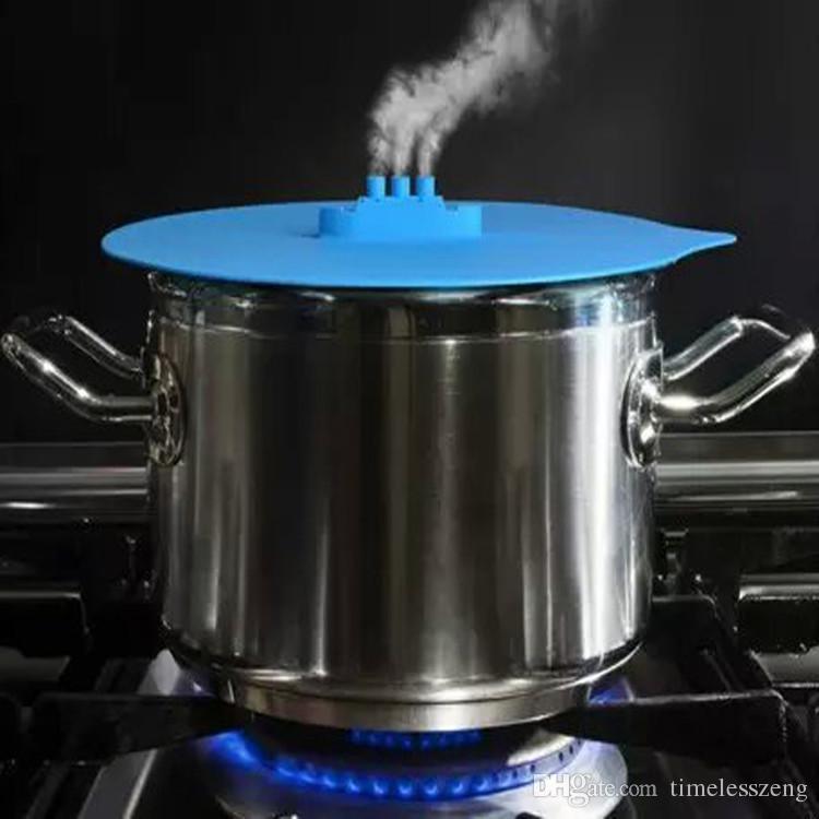 Creativo Steam Ship Steaming Lid Coperchio universale pentola in silicone Padella strumento di cottura Coperchio padella Boil Over Spill Stopper Cover Safe Kitchen Tool