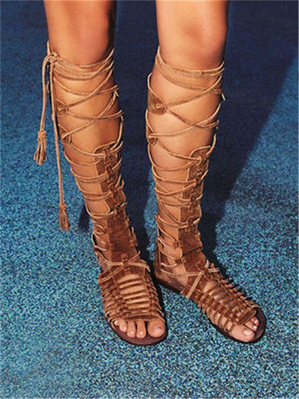 2ccfa5fbbe5 Summer Fashion Lace-Up Long Gladiator Sandals Flat Cut-Outs Knee High Women  Boots Peep Toe Plus Size Women Shoes 35-42 Cut-Outs Knee High Sandals Women  Flat ...
