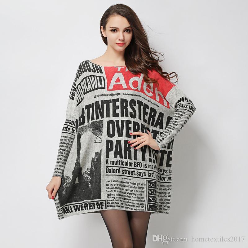 2017 New Newspaper Wool Sweater Women Dress Oversized Knitwear Long