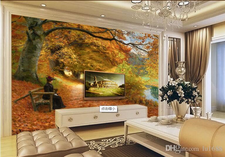 gro handel western gem lde im herbst des waldweges gro e wandbilder tapete wohnzimmer. Black Bedroom Furniture Sets. Home Design Ideas