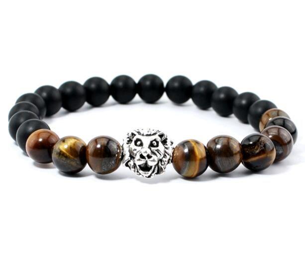 Joyería de moda Piedra de Ojo de Tigre Natural Ágata Negra Cabeza de León Yoga Cuentas Unisex Pulsera Mezcla tamaño de orden 16-19 cm