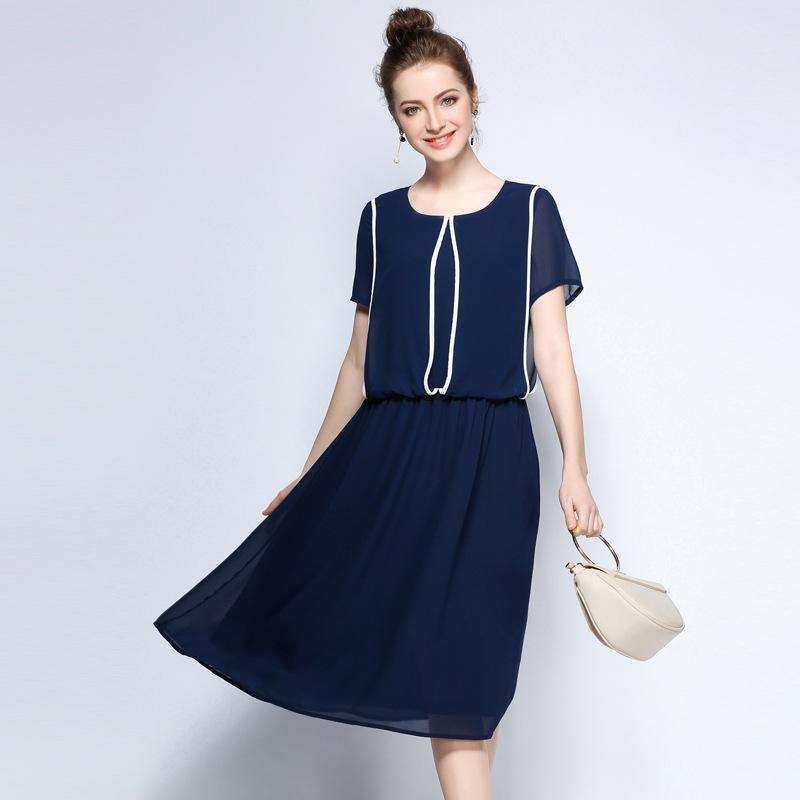 Women Plus Size Woven Midi Dress Short Sleeve Summer Casual Dresses with  Contrast Piping Trims L to 4xl 5xl