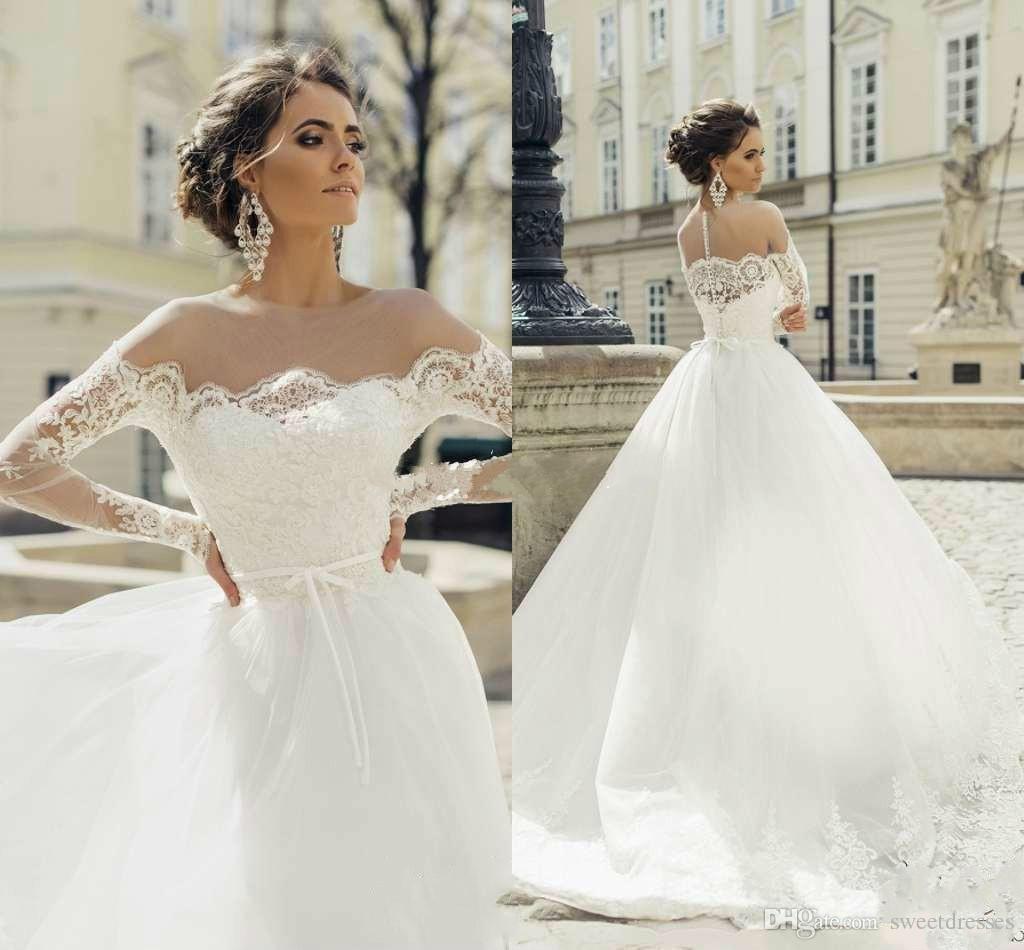 Großhandel Vintage Milla Nova Sheer Jewel Hals Langarm Brautkleider ...