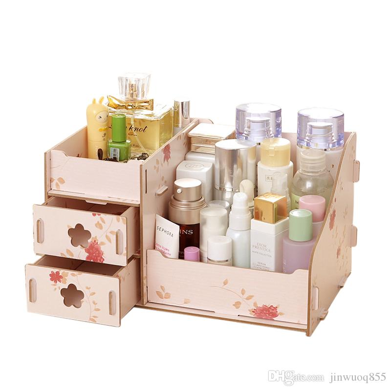 Wooden Storage Box Jewelry Container Makeup Organizer Case Handmade Diy Assembly Cosmetic Organizer Wood Box For Office From China Storage Holders u0026 Racks ...  sc 1 st  DHgate.com & Wooden Storage Box Jewelry Container Makeup Organizer Case Handmade ...