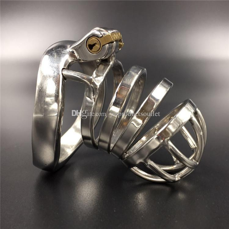 Device full length 65mm ,50mm cage length new chastity cage curve base ring stainless steel chastity devices for men