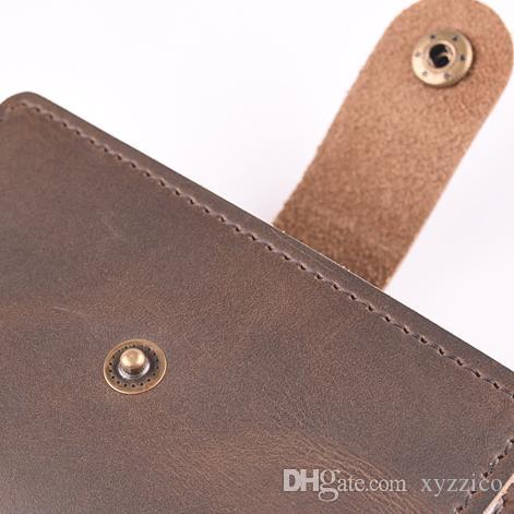 new arrival lady men unisex vertical short card holder casual vintage, crazy-horse split cowhide leather