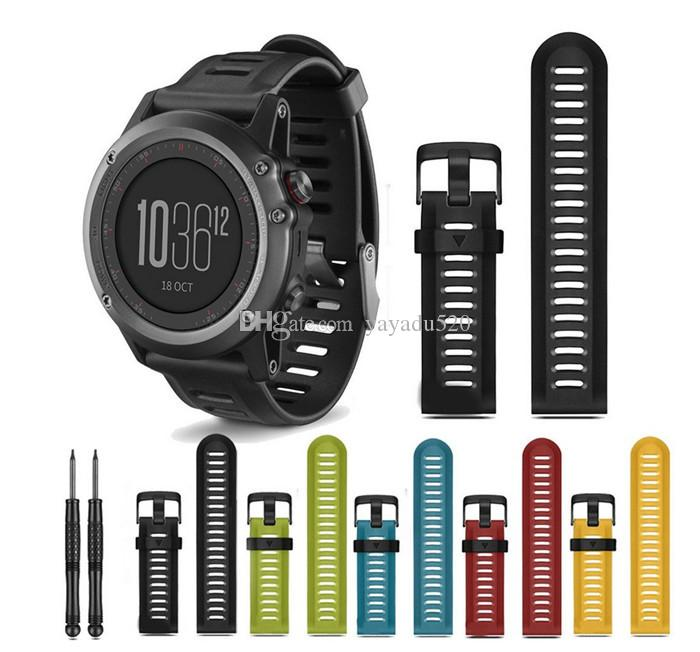 Wholesale 26mm For Fenix3 Rubber Silicone watchband Black Red Orange Smart bracelet With Black Buckle with Tools