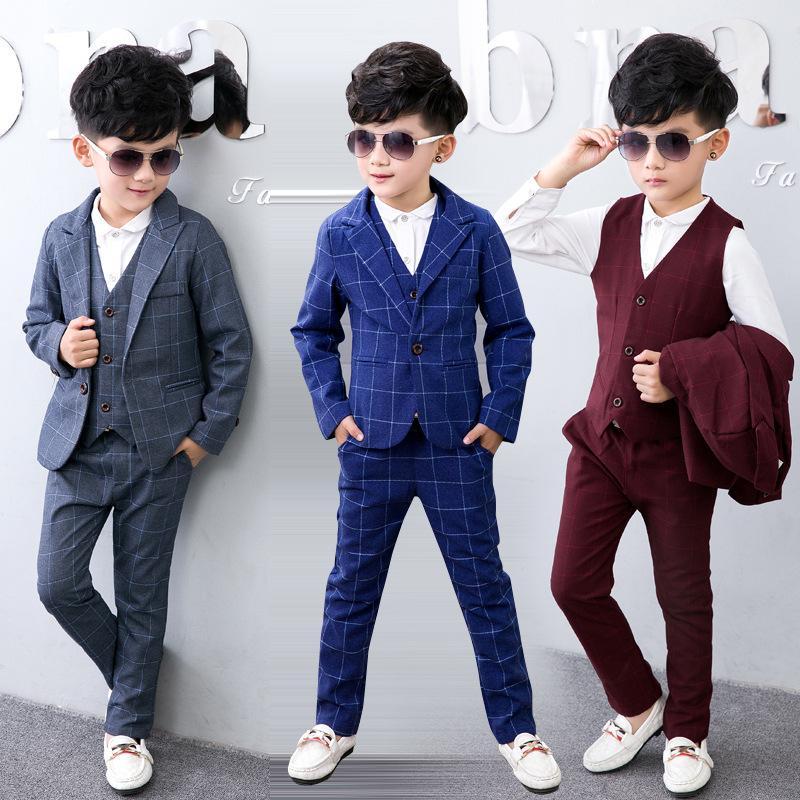 2018 British Style Boys Gentleman Suit Cotton Plaid Formal Suit