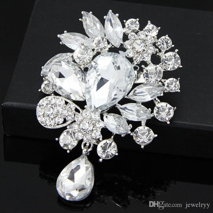 Vintage Wedding Brooch Pins Big Crystal Waterdrop Top Quality Silver Tone Brooches Large Crystal Rhinestone Flower Women Broach Corsage
