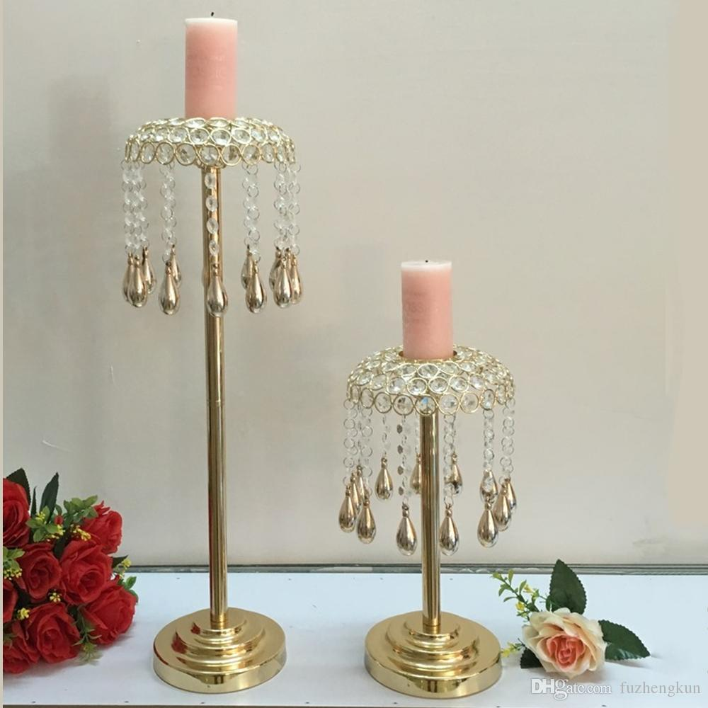 Golden Crystals Candle Holder Wedding Table Candelabra/ Centerpiece Delicate Wind Chimes Type Decoration Candlestick 10 PCS / Lot