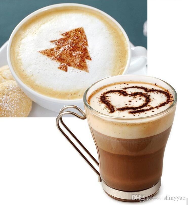 16 pçs / set guirlanda de plástico molde fantasia modelo de impressão de café café espesso modelo de spray de espuma barista stencils decoração ferramenta