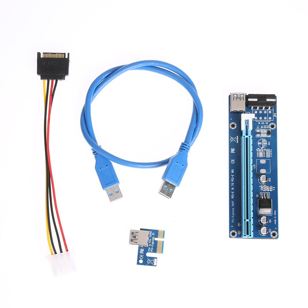 Freeshipping 10pcs PCI-E 1X to 16X Extender Riser Card SATA 15Needle 4Pin Power Line USB 3.0 Connector Power Supply Cable 60cm for Mining