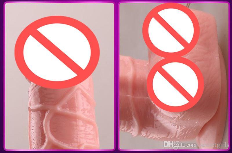 Dildo realistico Pene Dongs Sex Toys Donna Real Silicone Dildo di gomma Foreskin, Dildo di aspirazione Dildo grande, Grande Medio Dildo piccolo Carne