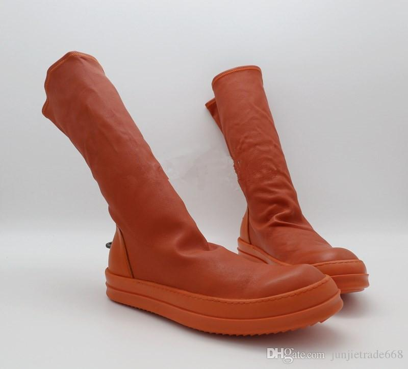 Factory Outlet Hook socks elastic sheepskin boots boots tide fashion lovers men orange sleeve comfort elevator shoes