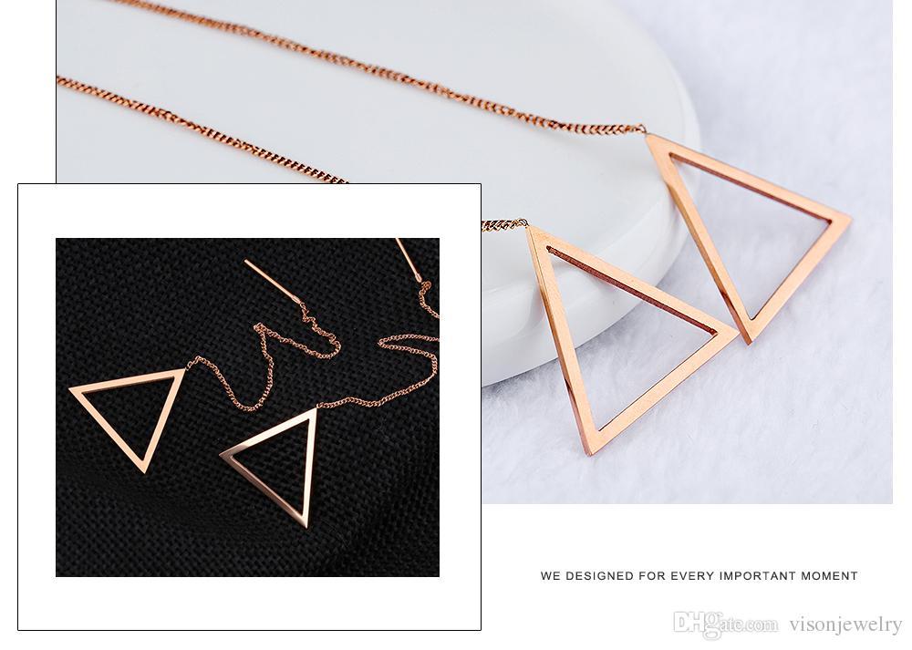 Brincos Longos Cadeia Ear Brincos Rosca Triângulo em Aço Inoxidável
