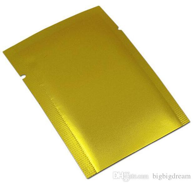 100 Pz / lotto Oro Opaco Sigillo di Calore Foglio di Alluminio Tè Noce Caramella Sacchetto Sottovuoto Sacchetto Open Top Mylar Pacchetto del partito Tasca Spedizione gratuita